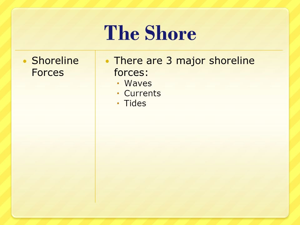 The Shore Shoreline Forces There are 3 major shoreline forces: Waves