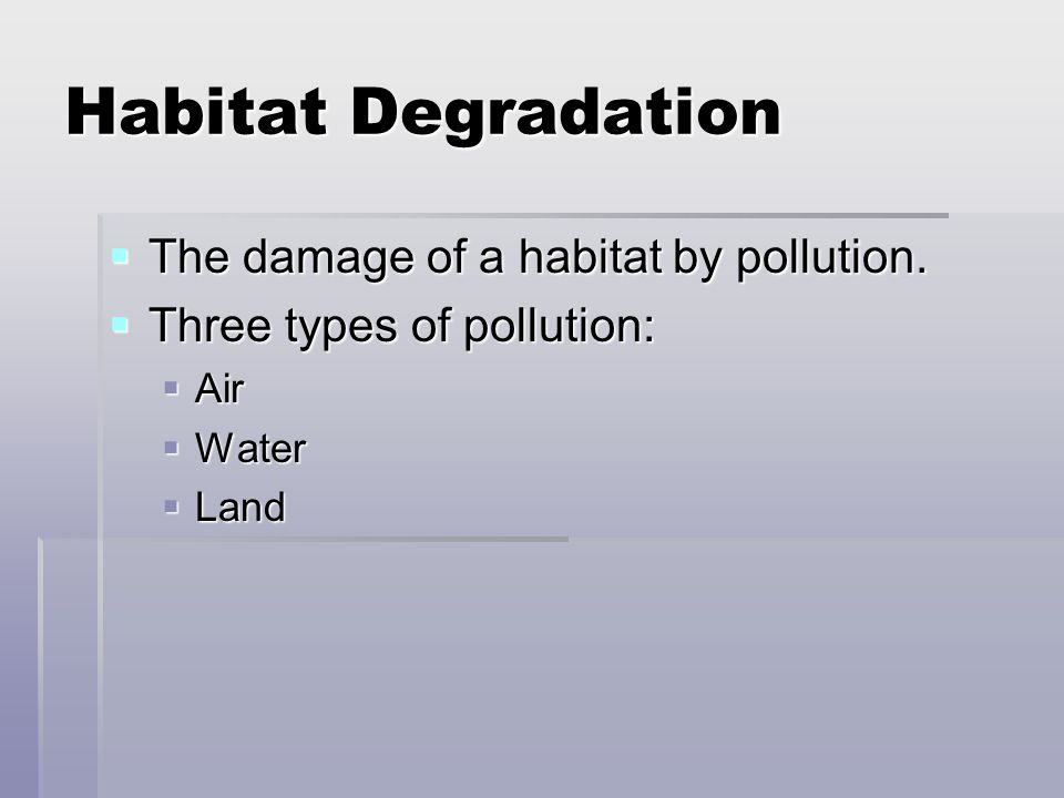 Habitat Degradation The damage of a habitat by pollution.