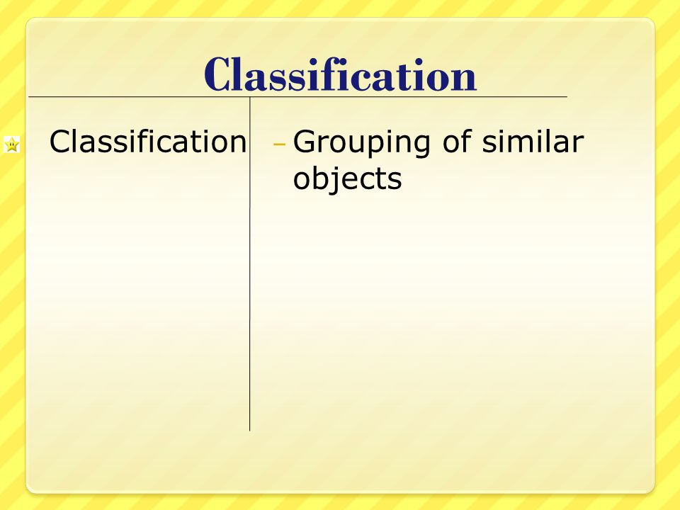 Classification Classification Grouping of similar objects
