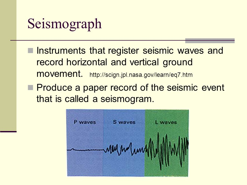 Seismograph Instruments that register seismic waves and record horizontal and vertical ground movement. http://scign.jpl.nasa.gov/learn/eq7.htm.