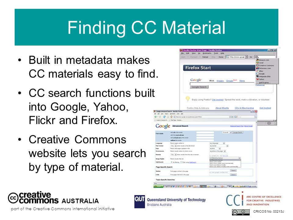 Finding CC Material Built in metadata makes CC materials easy to find.