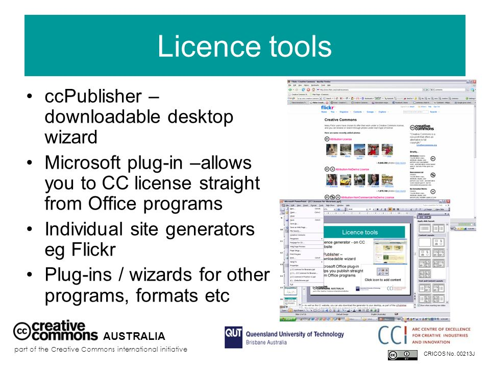 Licence tools ccPublisher – downloadable desktop wizard