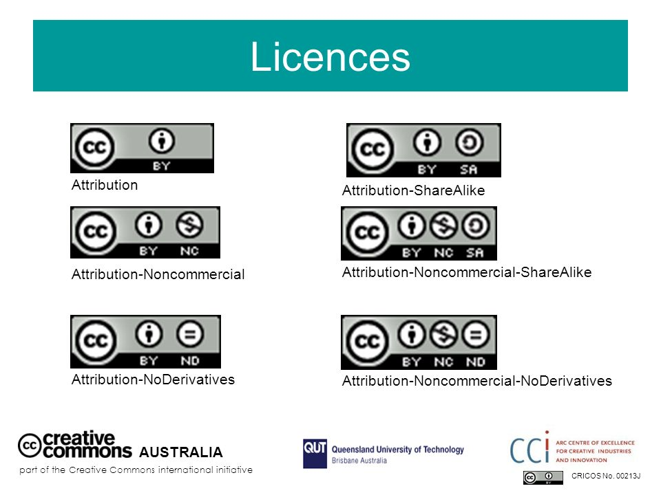 Licences Attribution Attribution-ShareAlike Attribution-Noncommercial