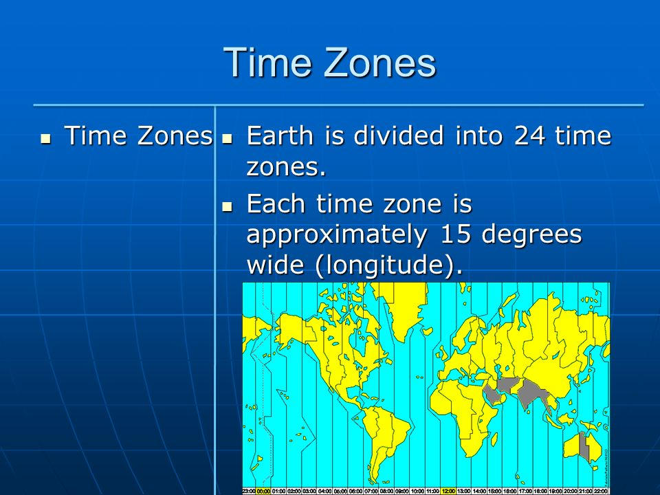 Time Zones Time Zones Earth is divided into 24 time zones.