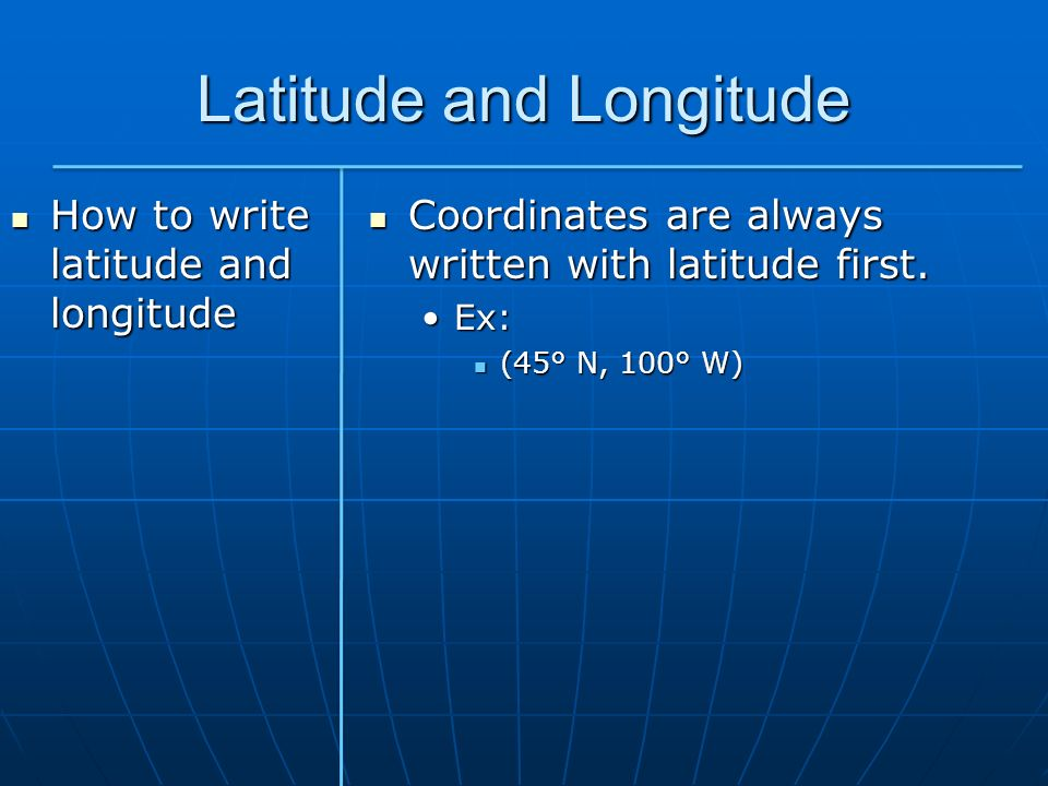 how to write latitude and longitude in a paper