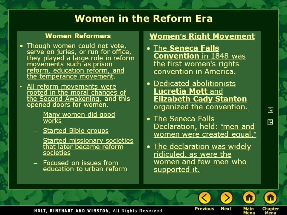 women s right movement This chart shows the percent of change for the women's rights movement 83% of people said it was a change for the better, and were eager to support the movement.
