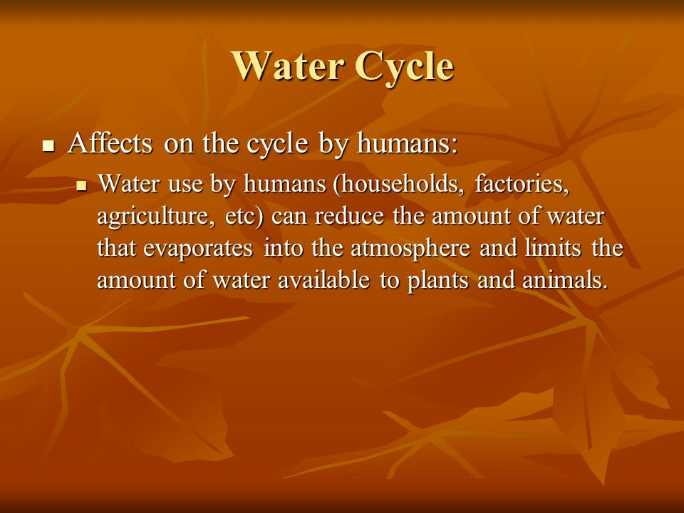 Water Cycle Affects on the cycle by humans: