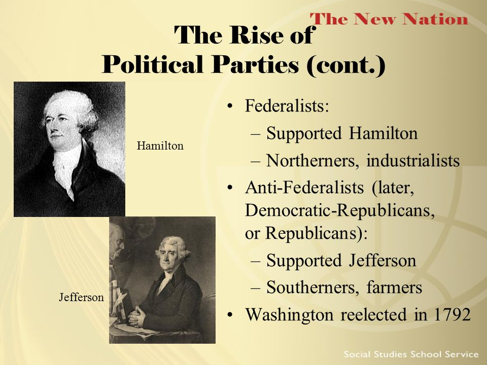 The Rise of Political Parties (cont.)