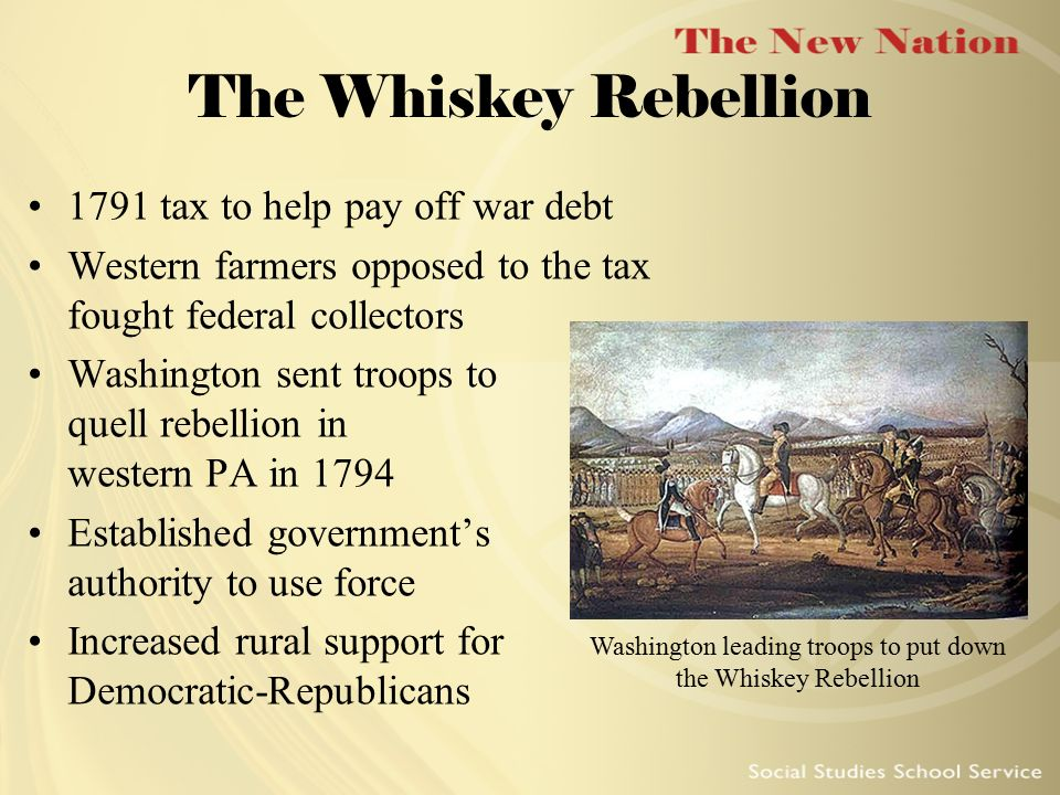 Washington leading troops to put down the Whiskey Rebellion