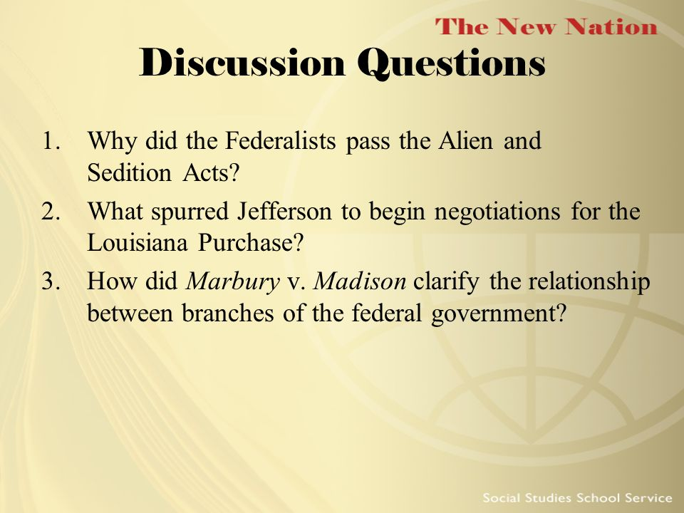 Discussion Questions Why did the Federalists pass the Alien and Sedition Acts