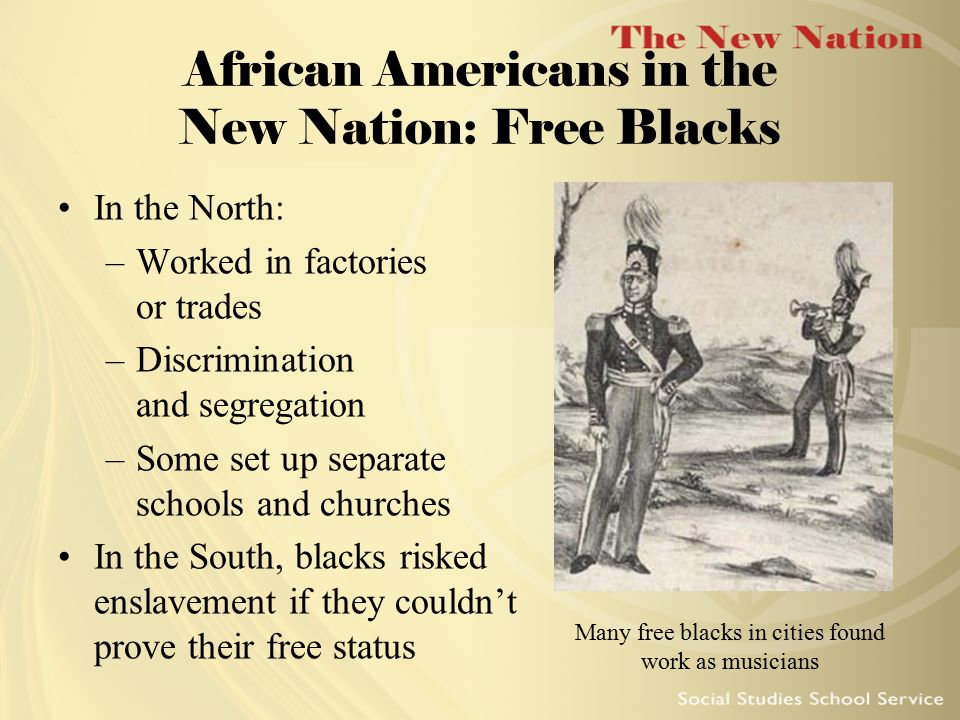 how free were blacks in the north Free blacks in the antebellum period were quite the african american odyssey: a quest for in the north or the south free southern blacks continued.