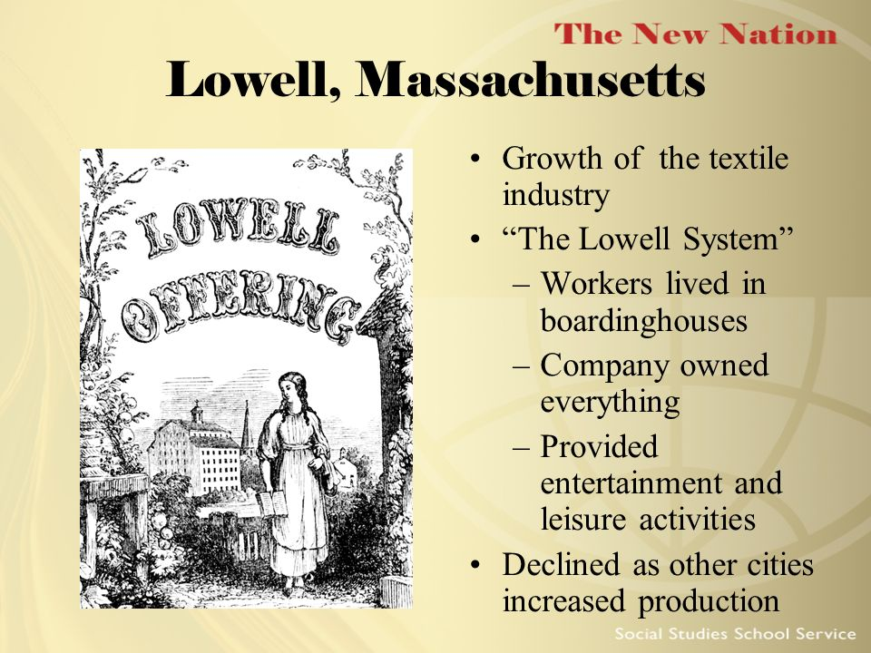 Lowell, Massachusetts Growth of the textile industry
