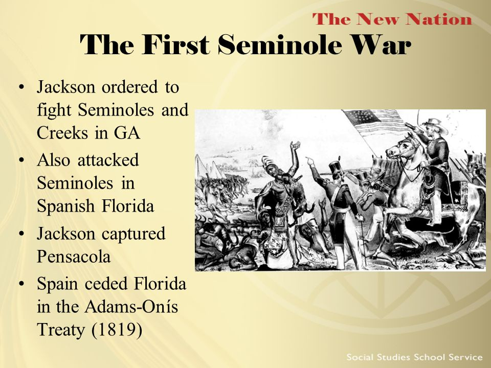 The First Seminole War Jackson ordered to fight Seminoles and Creeks in GA. Also attacked Seminoles in Spanish Florida.