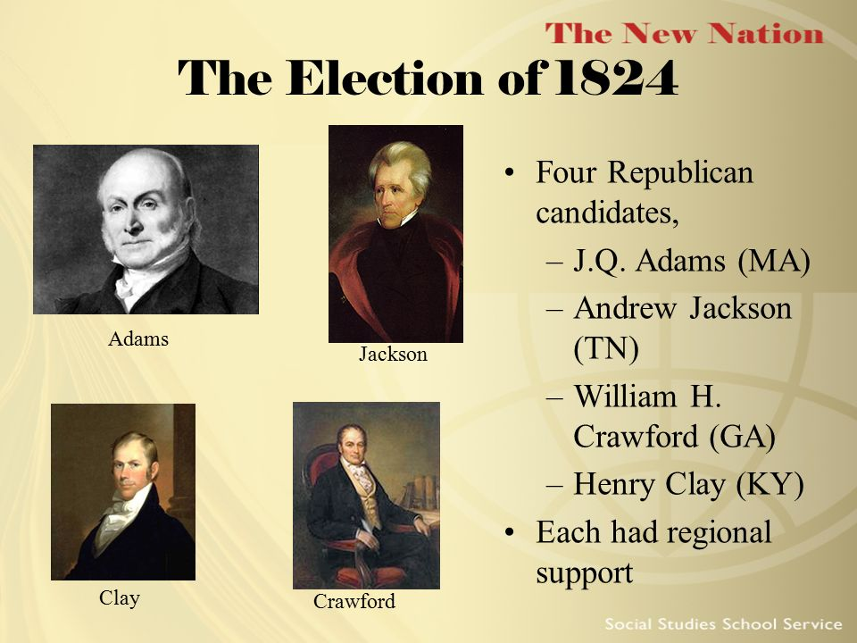 The Election of 1824 Four Republican candidates, J.Q. Adams (MA)