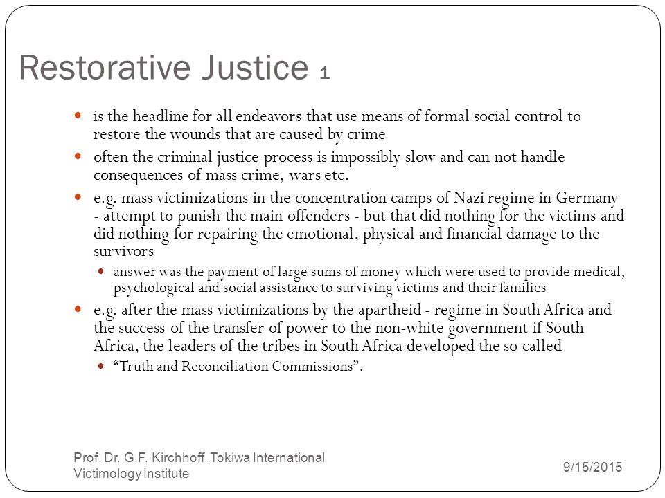 Tutorial: Introduction to Restorative Justice