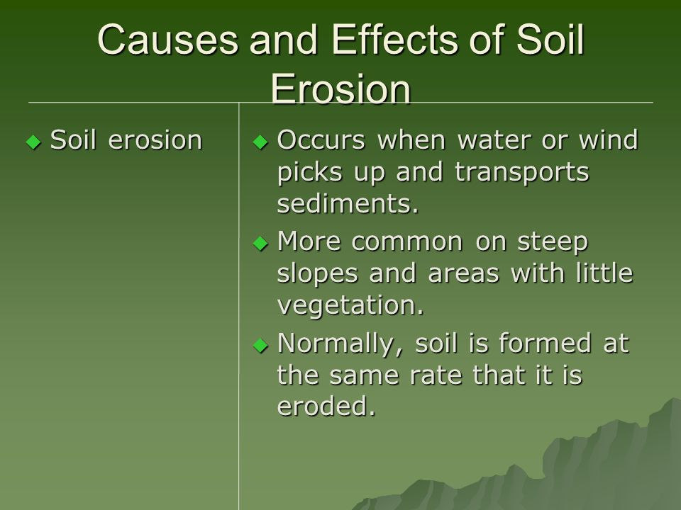 Causes and Effects of Soil Erosion