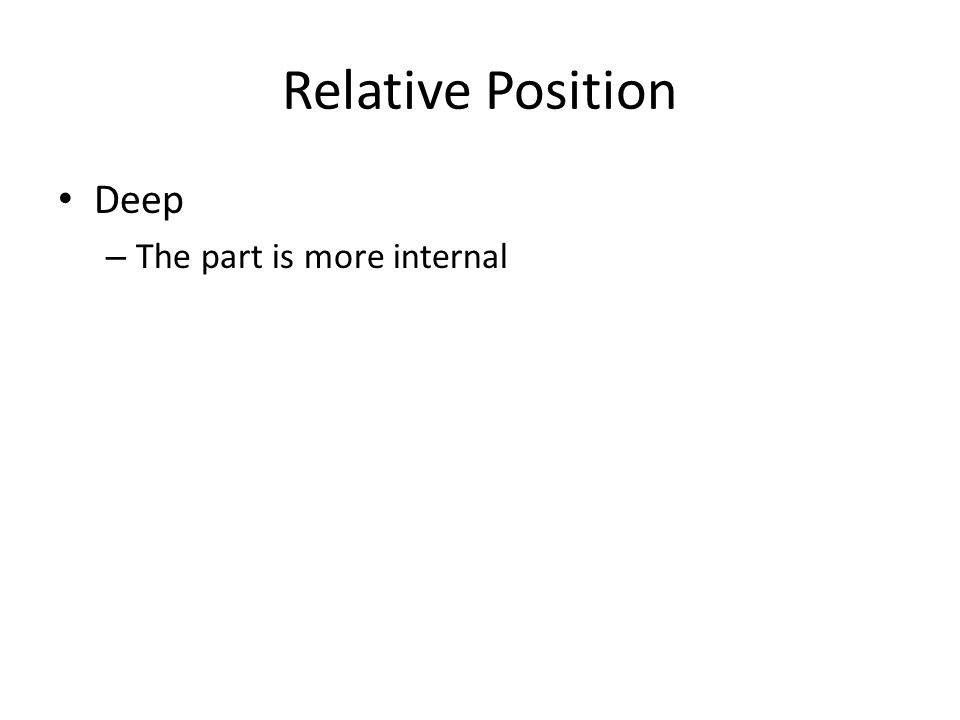 Relative Position Deep The part is more internal