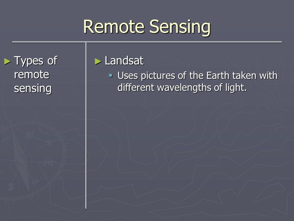 Remote Sensing Types of remote sensing Landsat