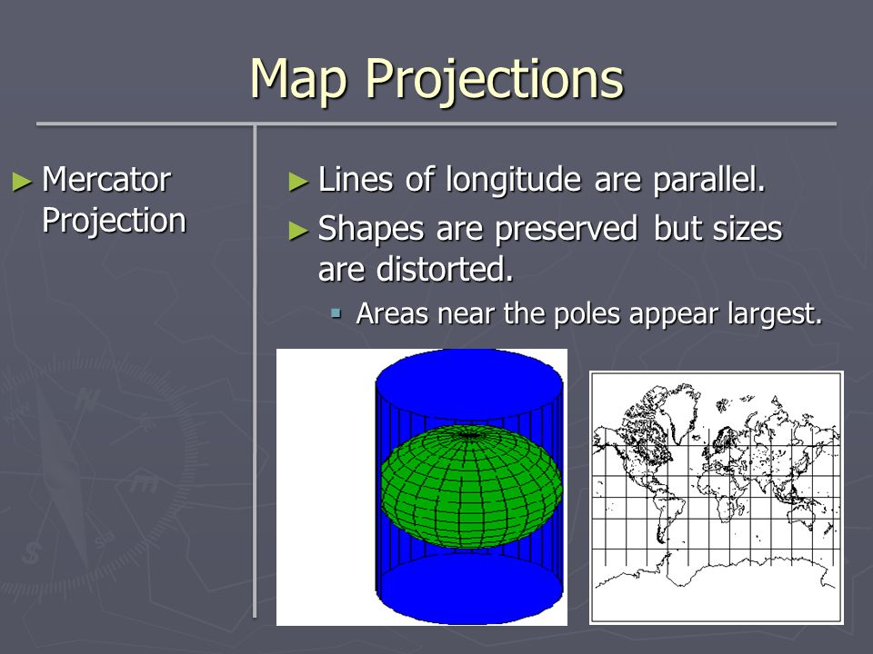 Map Projections Mercator Projection Lines of longitude are parallel.