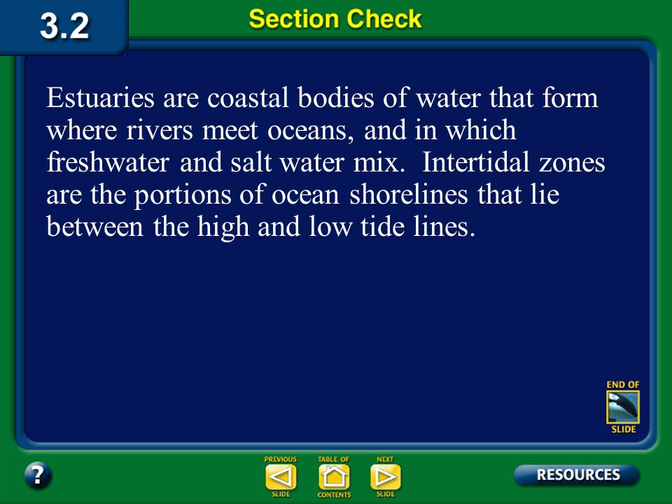 Estuaries are coastal bodies of water that form where rivers meet oceans, and in which freshwater and salt water mix. Intertidal zones are the portions of ocean shorelines that lie between the high and low tide lines.
