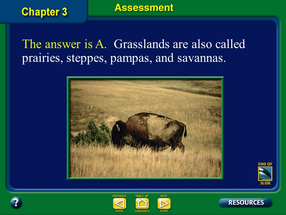 The answer is A. Grasslands are also called prairies, steppes, pampas, and savannas.