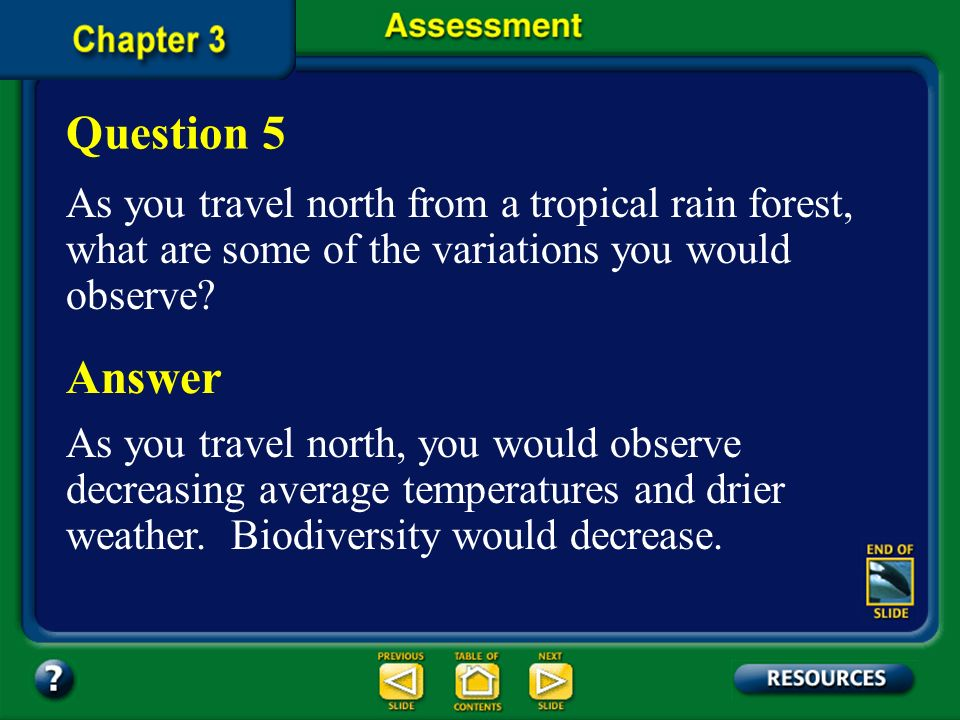 Question 5 As you travel north from a tropical rain forest, what are some of the variations you would observe
