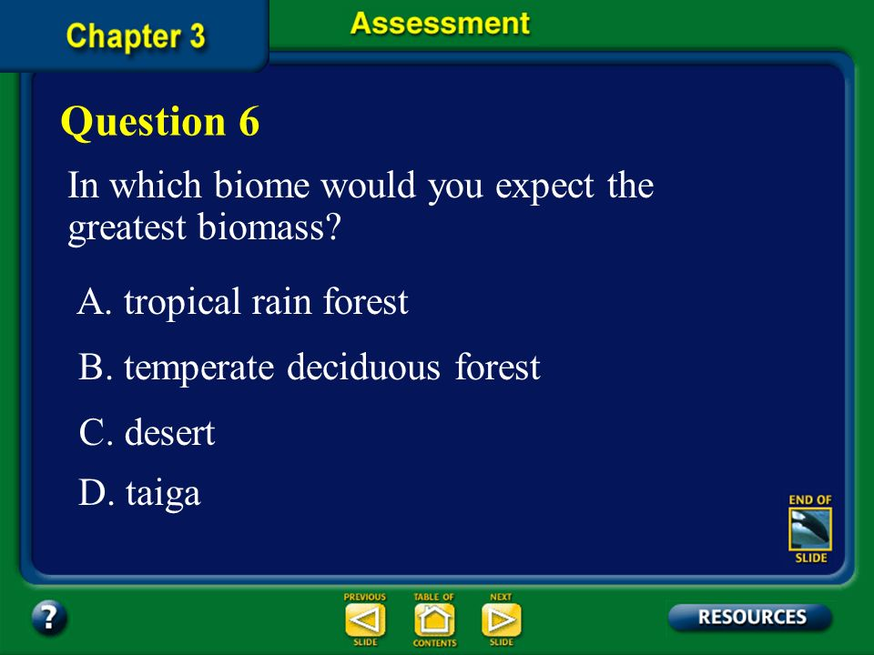 Question 6 In which biome would you expect the greatest biomass