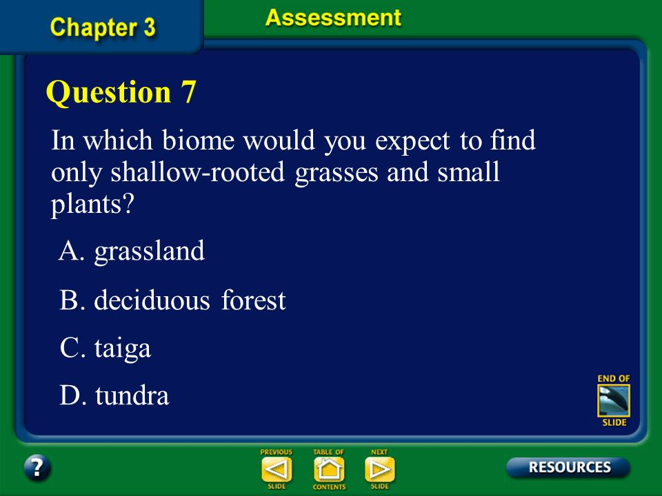 Question 7 In which biome would you expect to find only shallow-rooted grasses and small plants A. grassland.