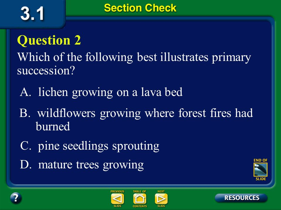 Question 2 Which of the following best illustrates primary succession