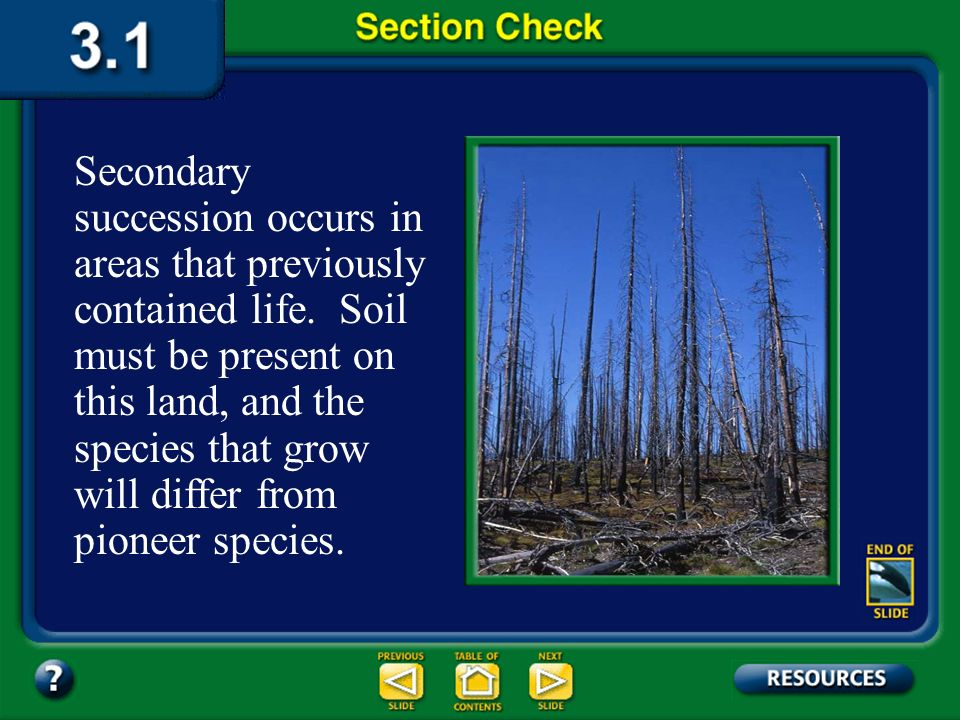 Secondary succession occurs in areas that previously contained life