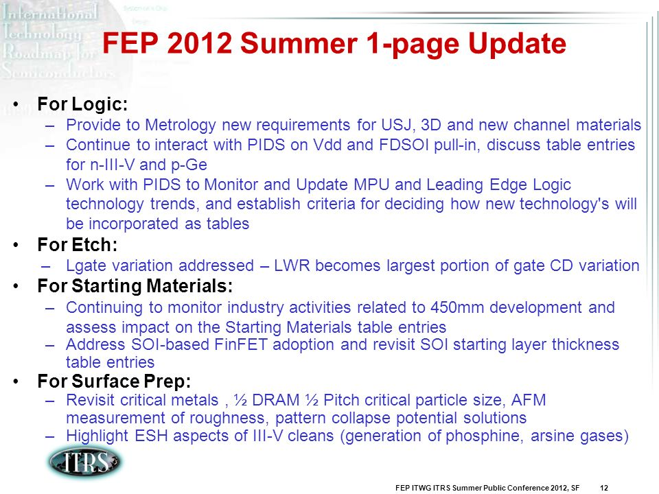 FEP 2012 Summer 1-page Update
