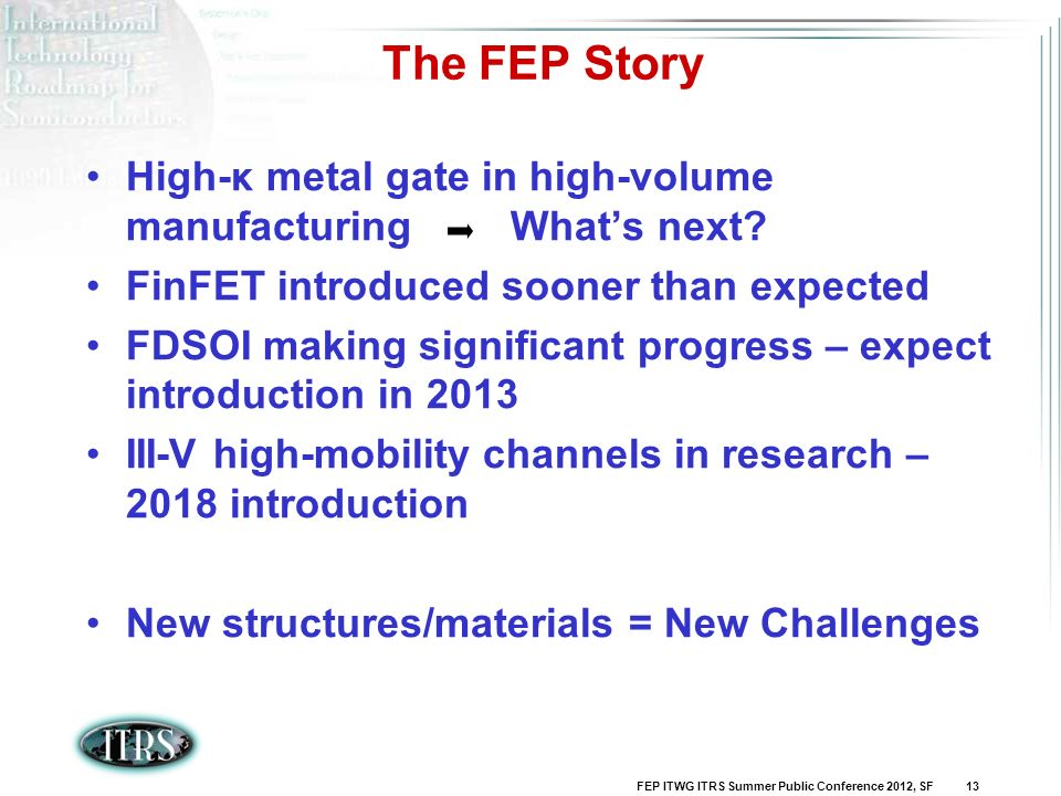 The FEP Story High-κ metal gate in high-volume manufacturing What's next FinFET introduced sooner than expected.