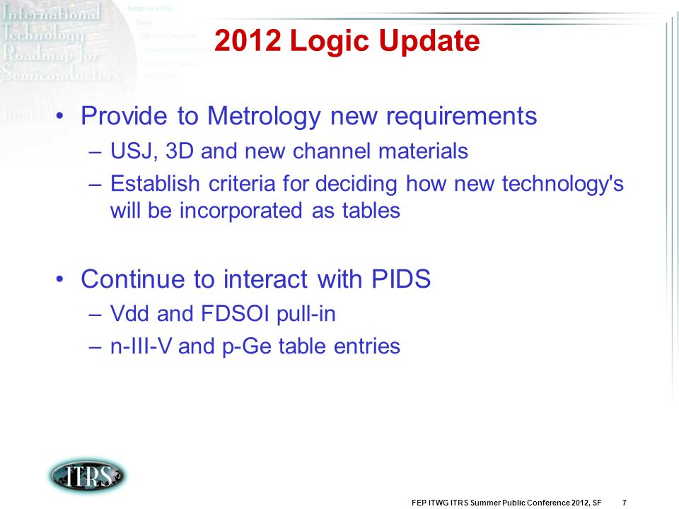 2012 Logic Update Provide to Metrology new requirements
