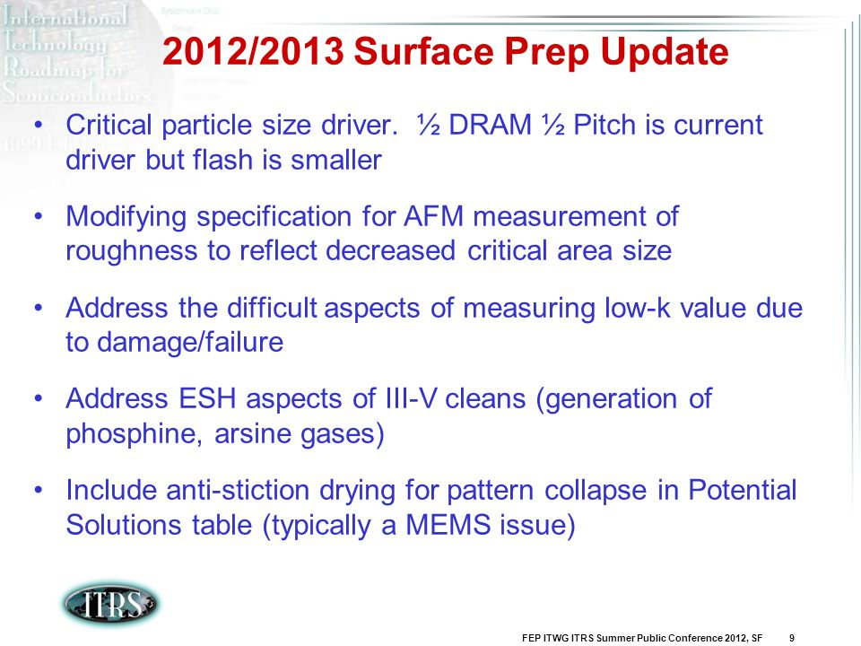 2012/2013 Surface Prep Update Critical particle size driver. ½ DRAM ½ Pitch is current driver but flash is smaller.