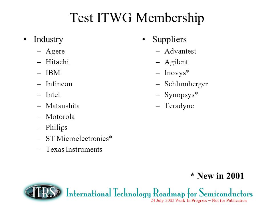 Test ITWG Membership Industry Suppliers * New in 2001 Agere Hitachi