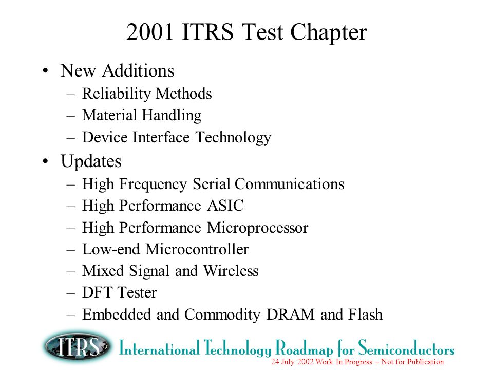 2001 ITRS Test Chapter New Additions Updates Reliability Methods