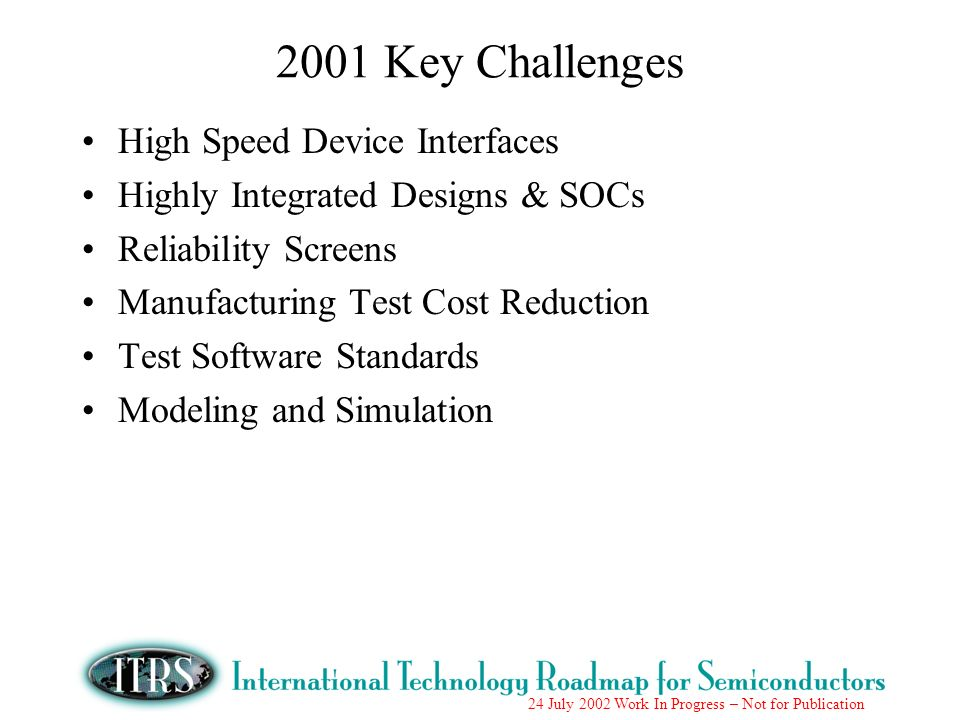 2001 Key Challenges High Speed Device Interfaces
