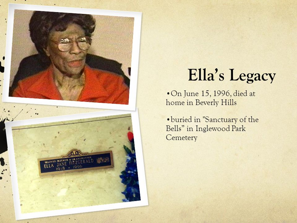 Ella's Legacy On June 15, 1996, died at home in Beverly Hills