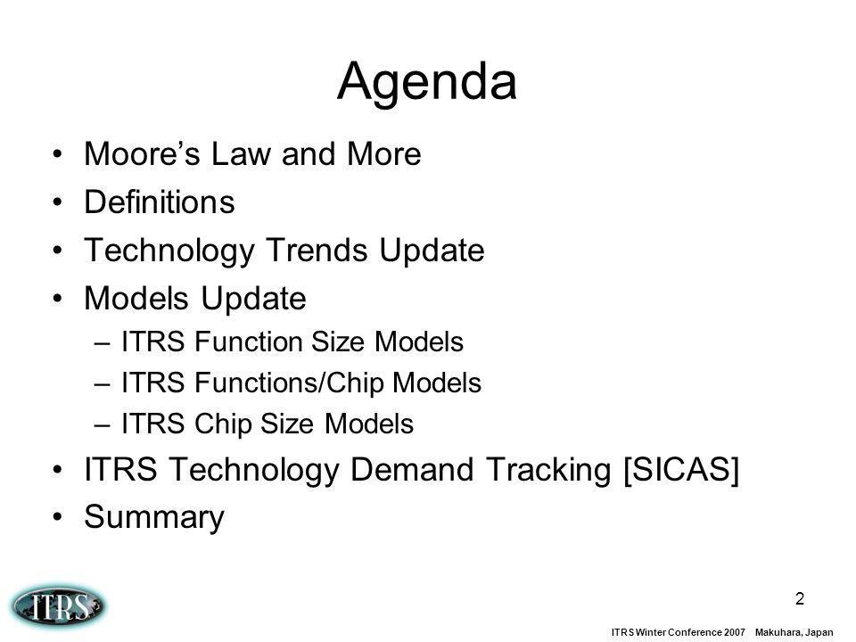 Agenda Moore's Law and More Definitions Technology Trends Update