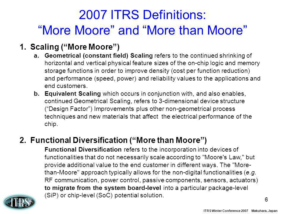 2007 ITRS Definitions: More Moore and More than Moore