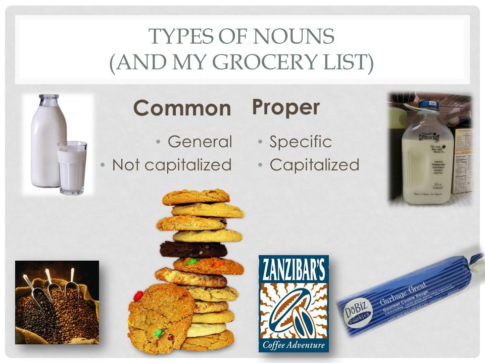 Types of Nouns (and my grocery list)