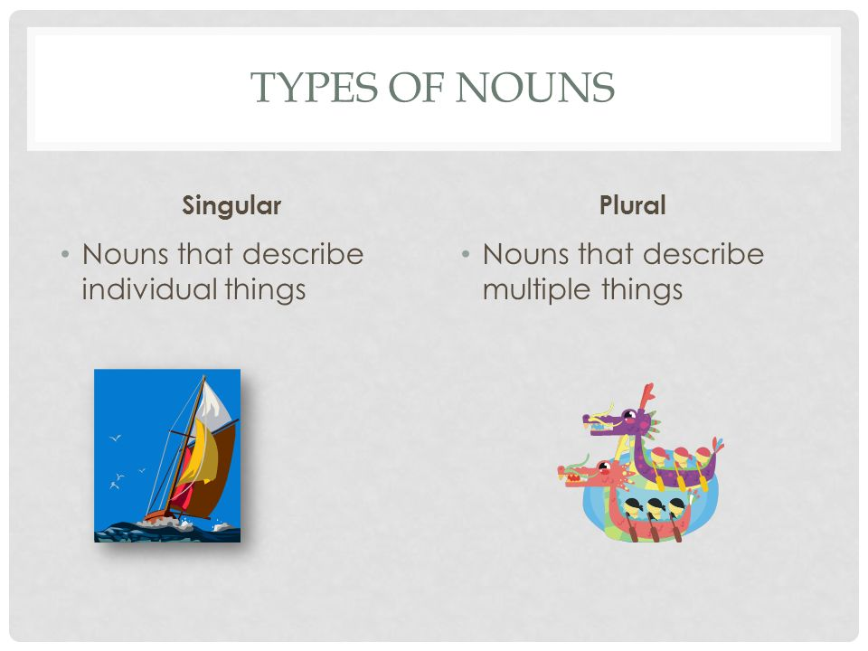Types of Nouns Nouns that describe individual things