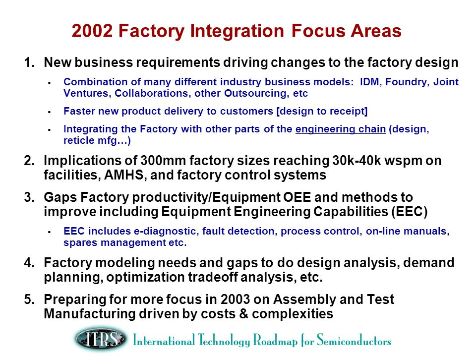 2002 Factory Integration Focus Areas