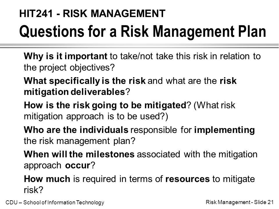HIT241 - RISK MANAGEMENT Introduction