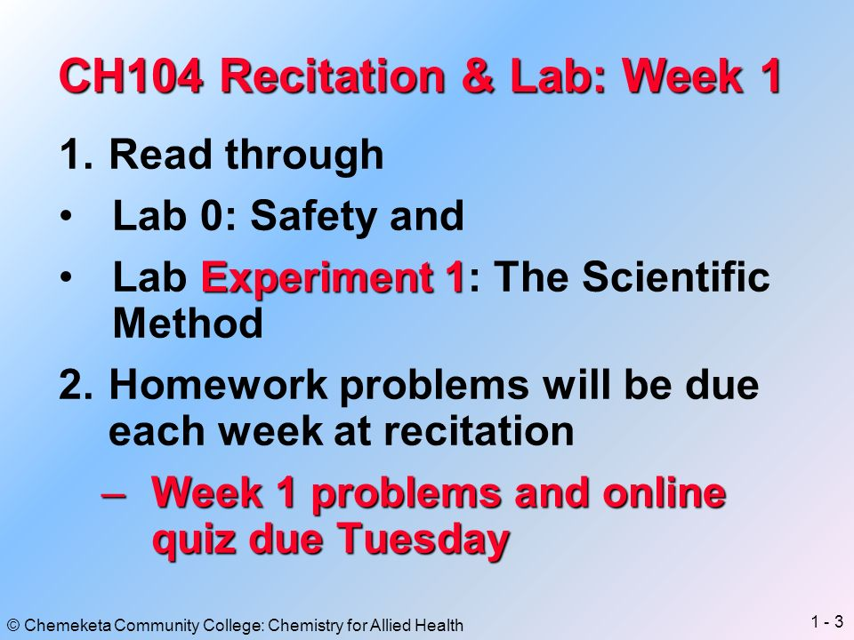 lab week 1 This chart shows the schedule of lectures, labs and assignments for the monday,   nov 1, closed lab: week 10 arraylists 31, mon nov 5, midterm exam ii.