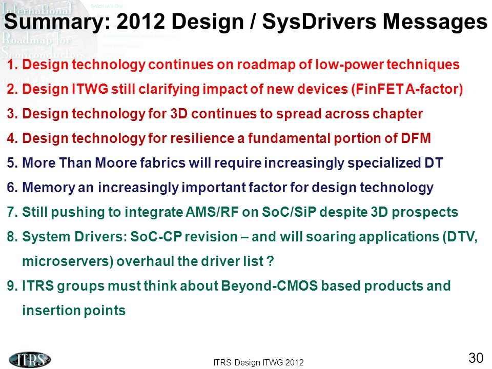 Summary: 2012 Design / SysDrivers Messages