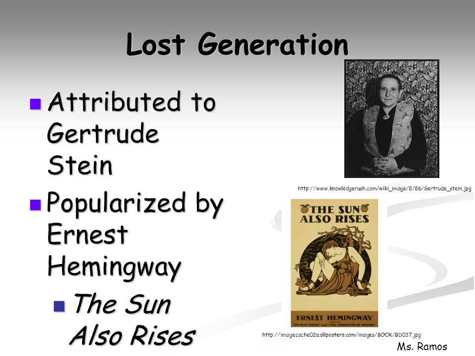 ernest hemingway lost generation essay Essay archive introducing ernest hemingway  hemingway is often assigned a place among the writers of `the lost generation',.