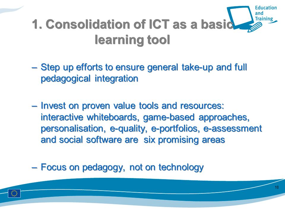 1. Consolidation of ICT as a basic learning tool