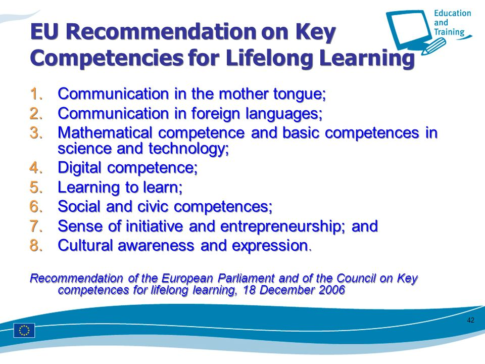 EU Recommendation on Key Competencies for Lifelong Learning
