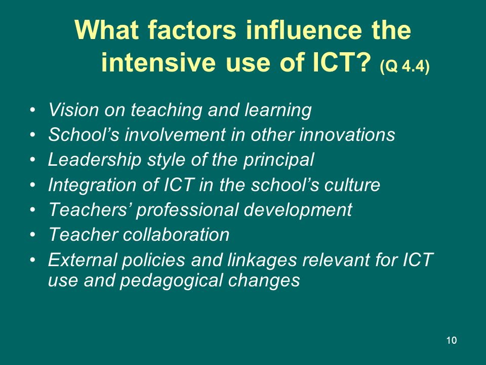 What factors influence the intensive use of ICT (Q 4.4)